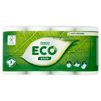 Tesco Eco White Toilet Paper 3 Ply 8 Rolls