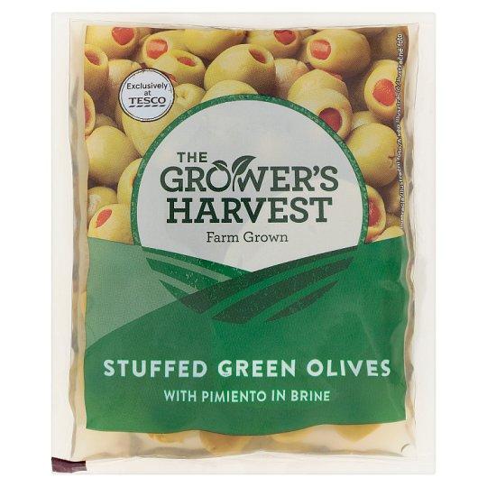 The Grower's Harvest Zelené olivy plnené paprikovou pastou v slanom náleve 195 g