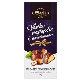 Seli Všetko najlepšie k narodeninám čokoládové pralinky s náplňou Weinbrand a lieskovým orieškom 95