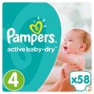 Pampers Active Baby-Dry Detské Jednorazové Plienky, Veľkosť 4 (Maxi), 58 ks