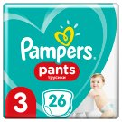 Pampers Pants Size 3, 26 Nappies, 11-18 kg, Absorbing Channels