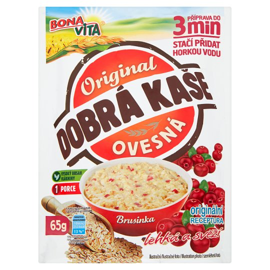 Bona Vita Dobrá kaše Original Oatmeal Porridge with Cranberries 65 g